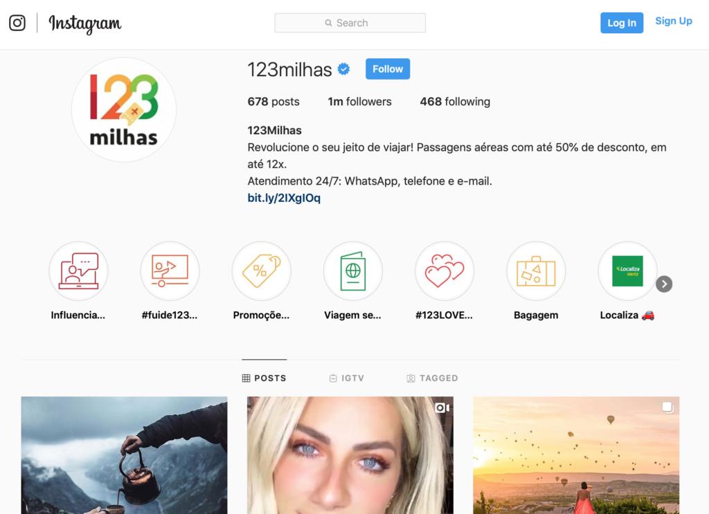 Instagram 123 milhas