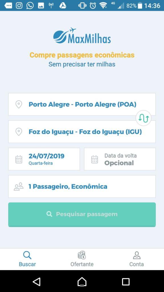 App MaxMilhas do Android: pesquisa de passagem