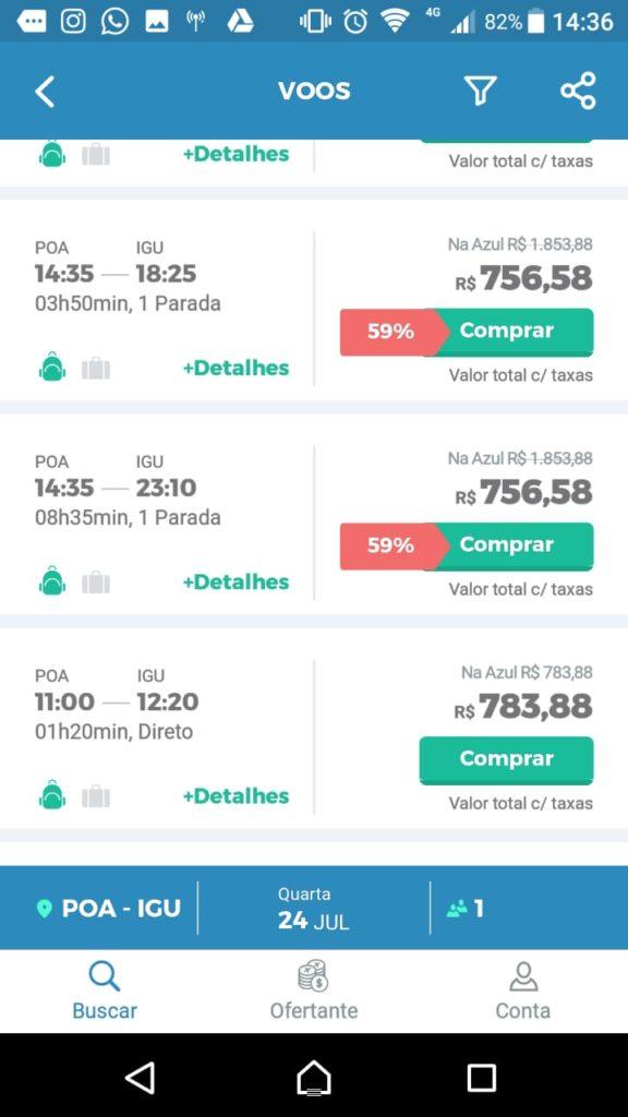App Android da MaxMilhas: resultado e comparação de passagens aéreas