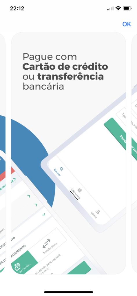 Tela iOS dizendo: Pague com cartão de crédito ou transferência bancária