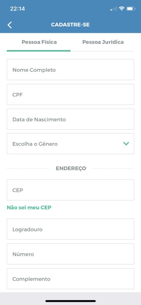 App MaxMilhas pro iOS: fazer cadastro