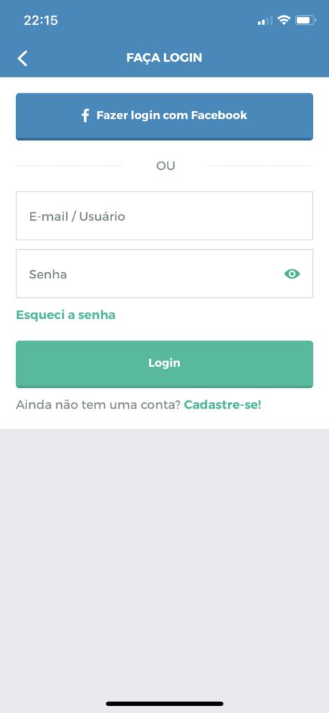 App MaxMilhas pro iOS: login na conta