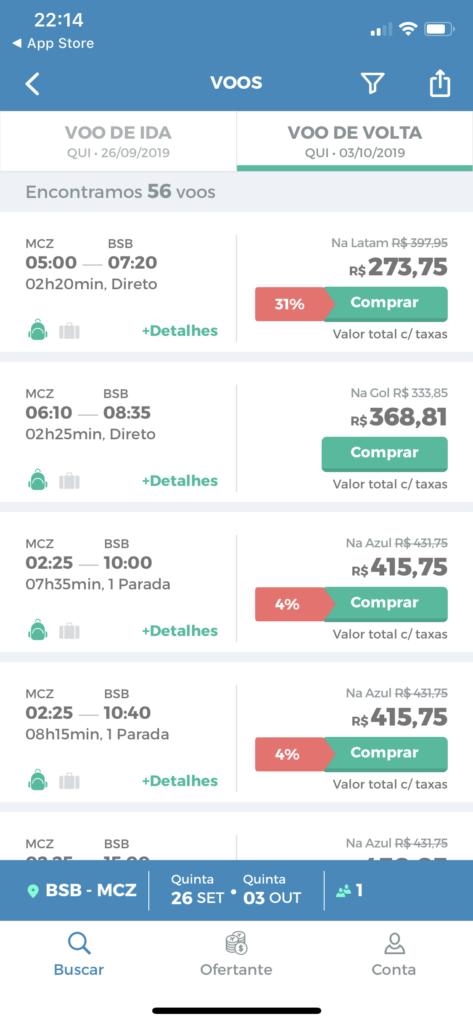 App MaxMilhas pro iOS: resultado de passagens com desconto